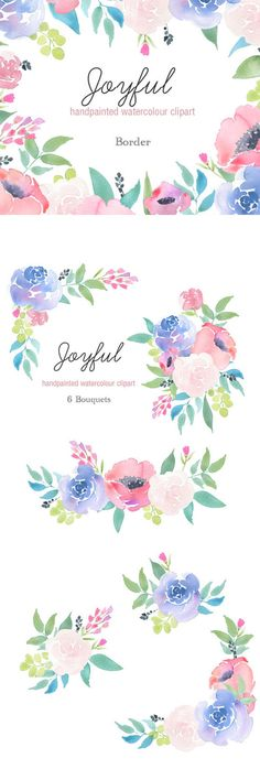 Watercolor Clip Art - floral frames, borders, flower elements, roses wreath, pink, blue, etsy branding, large clipart set, downloadable This floral design has been hand-painted in watercolours. Use for making cards, invitations, prints, wedding invitations, on your blog, for your logo and on your website and many other digital projects. Ad #graphicdesign #floral #flowers #watercolor