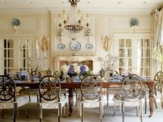 Dining room set with blue china.