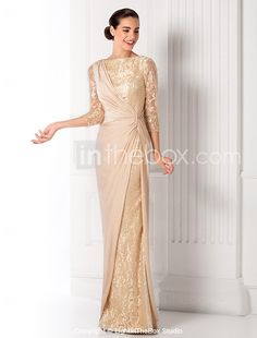 TS Couture® Prom / Formal Evening / Military Ball Dress Plus Size / Petite Sheath / Column Bateau Floor-length Lace / Jersey with Side Draping Chiffon Wedding Gowns, Lace Wedding Dress With Sleeves, Applique Wedding Dress, Applique Dress, Wedding Dresses, Bridal Gowns, Evening Dresses Online, Cheap Evening Dresses, Elegant Dresses