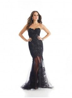 Sweetheart Sweep Train Black Tulle Trumpet Mermaid Prom Dress