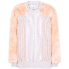 Stella McCartney Virgin Wool Sweater With Faux Fur ($1,130) ❤ liked on Polyvore featuring tops, sweaters, beige, faux fur top, stella mccartney, light pink sweater, pink sweater and faux fur sweater