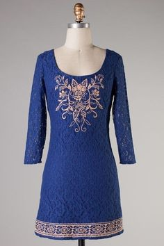 Deep Blue Sky Shift Dress, Modcloth, Ruche Style, 3/4 sleeve, Casual, Bohemian #FlyingTomato #Shift #Casual