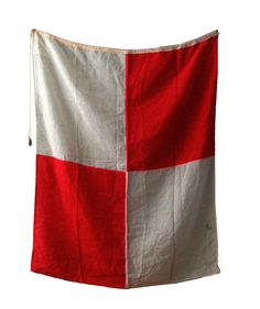Red and White Nautical Signal Flag by foldingchairs