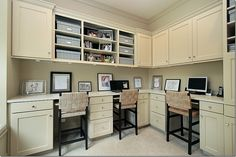 office nook...love the high counter and chairs...
