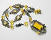 Vintage Deco Czech Yellow Glass Filigree Brass Necklace, 20s, Signed