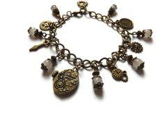 """Bracelet breloques steampunk montre engrenages quartz rose, """"Steampunk time"""""""