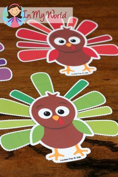 FREE Preschool Thanksgiving Centers Turkey feathers color sorting activity
