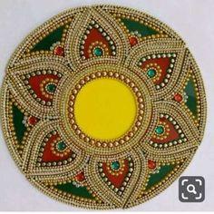 Call / whatsapp 8108101524 to get this rangoli 13 piece Diya Rangoli Kalash Decoration, Thali Decoration Ideas, Diwali Decorations, Festival Decorations, Cd Crafts, Hobbies And Crafts, Diy And Crafts, Arts And Crafts, Mandala Dots