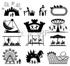 [ Children In Amusement Park Pictogram Icon Set Vector ] - Best Free Home Design Idea & Inspiration Icon Set, Free Collage, Chalkboard Designs, Brand Book, Stick Figures, Rock Crafts, Drawing For Kids, Surreal Art, Clipart