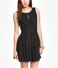 PLEATED KEYHOLE FIT AND FLARE DRESS | Express $80