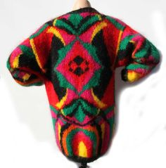 80s MOHAIR Cardigan Slouchy Sweater w Pockets Bold Color Block Ink Blot Pattern Neon Pink Green Black Orange Cardigan