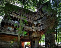 This is in Crossville, Tennessee, a man built this tree house with very little help, he started building it years ago and he is still working on it. What a BIG tree house! Big Tree, In The Tree, Giant Tree, Crossville Tennessee, Crossville Tn, The Places Youll Go, Places To Visit, Treehouse Hotel, Treehouse Ideas