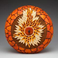 """*Gourd Art - """"Swirling Leaves"""" by Mark Doolittle"""