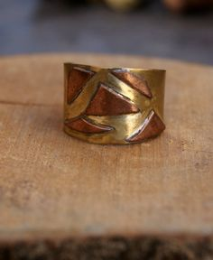 Copper and brass ring handmade ring adjustable size di ShockedShop
