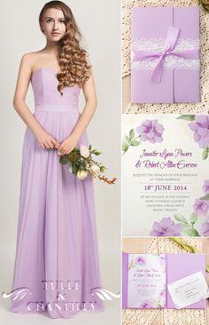 strapless light purple bridesmaid dresses and floral purple spring wedding invitations