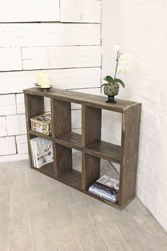 Reclaimed Dark Oak Stained Scaffolding Board 6 Aperture Display Cube Fixture - Urban Storage, Bespoke Industrial Shelving System