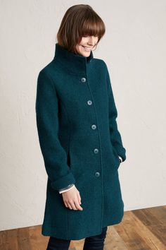 Our Falmouth Dawn Coat is warm, breathable and durable, with a soft, felt-like texture for a premium feel. Inspired by military tailoring with a feminine shape.