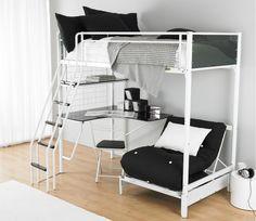 Stylish white iron kids loft bed design with black corner desk and black couch underneath. #LoftBed #KidsRoom #Furniture #Netnoot www.netnoot.com