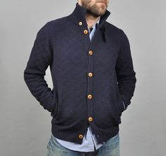 men's cardigan by della #cardigan #mens #fashion #navy #buttons #colorcontrast