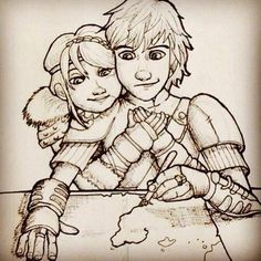 Awwwww this is really cute! Hiccup mapping the world with Astrid. (credit to artist)