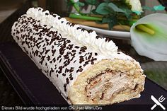 Sponge roll with Nutella - cappuccino cream - Kuchen, Torten - Easy Cookie Recipes, Sweet Recipes, Cake Recipes, Nutella Cookies, Cake Cookies, Cake Recipe Using Buttermilk, Oreo, Cheesecakes, German Baking