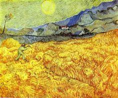 """Vincent van Gogh, """"Campo di grano con mietitore"""", 1889, olio su tela. Amsterdam, Van Gogh Museum"""