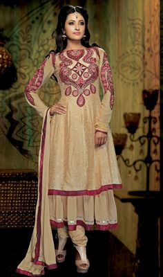Beige Embroidered Georgette Designer Suit Price: Usa Dollar $148, British UK Pound £87, Euro109, Canada CA$161 , Indian Rs7992.