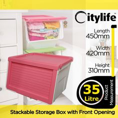 [S$15.90](▼69%)[Citylife]35L STACKABLE STORAGE BOX WITH FRONT OPENING[CITYLIFE BY CITYLONG IS SINGAPORES PLASTIC STORAGE CONTAINER BOX AND LIFESTYLE HOME ORGANIZATION SPECIALISTS]