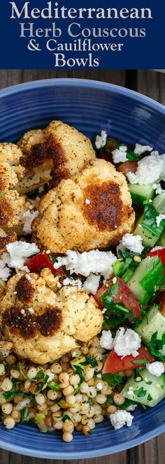 Herbed Couscous Recipe with Roasted Cauliflower | The Mediterranean Dish. Perfectly satisfying dinner bowls with flavor-packed herb couscous, perfectly roasted cauliflower, and an easy Mediterranean salad. Recipe comes with tips for best roasted cauliflower! Omit the feta for vegan dinner bowls. Recipe from TheMediterraneanDish.com #mediterraneandiet #dinnerbowls #buddahbowl #couscous #roastedcauliflower #vegetarian #vegan