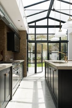 Devol Kitchen and crittal doors creating a dream kitchen in this modern extension with concrete worktops, brass taps and polished concrete floor adding industrial style Concrete Kitchen Floor, Concrete Floors, Kitchen Flooring, Kitchen Countertops, Polished Concrete Kitchen, Concrete Furniture, Concrete Countertops, Home Decor Kitchen, Kitchen Interior