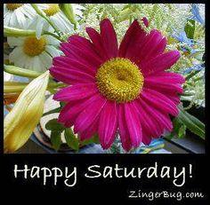 Happy Saturday Flowers MySpace Glitter Graphic Comment