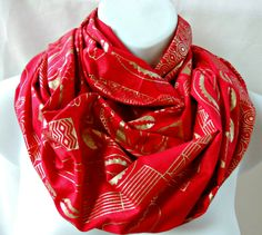 Red and Gold Shell Print Infinity Scarf by SewSophistikated on Etsy