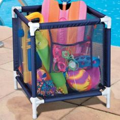Pool Toy Storage Bin  Allows toys to be out of the way and air dry during the swimming season