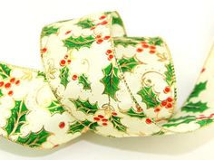 63mm wide Wired Edge Christmas Holly Metallic Ribbon - 10 metre roll Preview