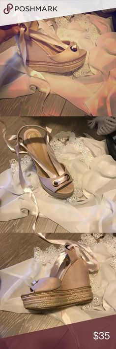 Blush Summer Wedges Beautiful Blush Summer Wedges . Lace up with an ever so delicate blush ribbon . Pretty shoe. Worn once . Shoes Wedges