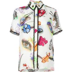 Kenzo Visage shirt ($485) ❤ liked on Polyvore featuring tops, blouses, white, short sleeve tops, patterned shirts, button front shirt, short sleeve shirts and white eyelet shirt