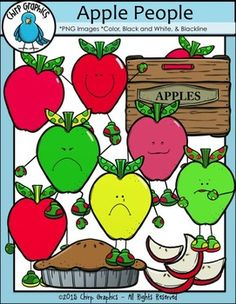 Apple clip art incuding apple people, apples, apple crate, apple pie, and apple slices!  Color, blackline and black and white included.