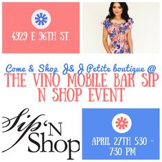 ☀️April 27th is just around the corner! ☀️ which means the Sip N Shop event will be here before we know it!!! Please join us for this complimentary event in where you can enjoy shopping from different boutiques, while sipping on a glass of vino from the Vino Mobile Bar!! Plus there will food trucks with yummy food! Shopping, food, & wine, what more do you need?! 🍷🌮🛍💖 come on out any time between 5:30-7:30! See you there! 😘😘