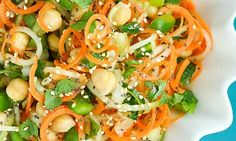 Spiralized Sweet and Sour Thai Carrot and Cucumber Noodle Salad