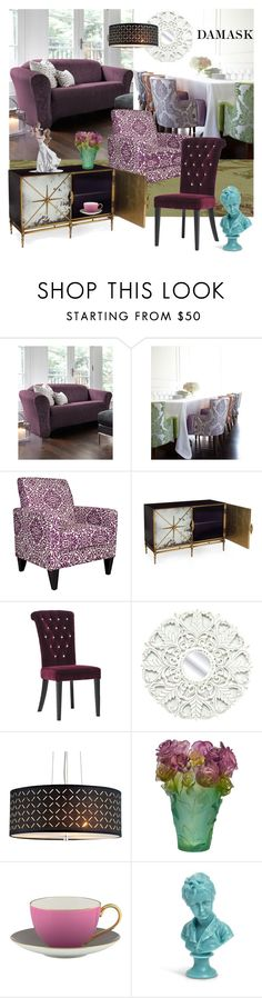 """""""DAMASK"""" by nicolevalents ❤ liked on Polyvore featuring interior, interiors, interior design, home, home decor, interior decorating, Haute House, angelo:HOME, Fetco and Daum"""