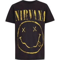 Boys dark grey 'Nirvana' rock band T-shirt Rock Band Tees, Rock Shirts, Boys T Shirts, Rock Bands, T Shirt Vest, Shirt Outfit, Hoodie, Nirvana, Vintage Band Tees