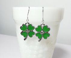 Shamrock 3 Leaf Clover Rhinestone Earrings by DelaneyJeanJewelry