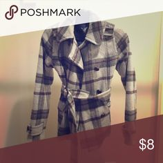 American Eagle plaid pea coat with optional belt Lightly worn pea coat. Silky inside with wool exterior American Eagle Outfitters Jackets & Coats Pea Coats