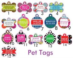 Personalized Trendy Pet Tags. $18.00, via Etsy.