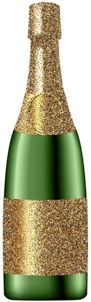 Glitter Champagne Bottle PNG Clip Art Image