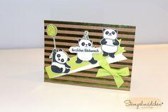 """Hallo ihr Lieben, die Party-Pandas – ein Gratisstempelset aus der aktuellen Sale-A-Bration – sind in aller Munde. Für meinen Auftakt zur Reihe """"5 Karten mit…"""" durften … Panda Party, Karten Diy, Animal Cards, Stampin Up Cards, Birthday Cards, Projects To Try, Card Making, Paper Crafts, Teddy Bear"""