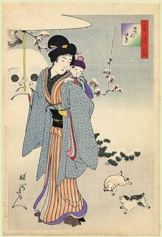 A young lady and child before a giant snow-man By Chikanobu 1899 Japan Illustration, Asian Cat, Japan Painting, Japanese History, Art Japonais, European Paintings, Japanese Prints, Japan Art, Woodblock Print