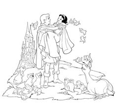 Disney Princess Coloring Pages: free printable coloring book Castle Coloring Page, Coloring Book Art, Colouring Pics, Coloring Pages For Kids, Adult Coloring, Disney Princess Snow White, Snow White Disney, Snow White Coloring Pages, Free Coloring Pages