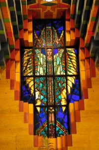 Colorful stained glass windows of rolled and painted glass made by George Green from Shields, Pennsylvania.
