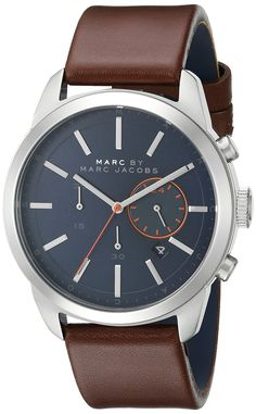 Amazon.com: Marc by Marc Jacobs Men's MBM5094 Dillon Stainless Steel Watch with Brown Leather Band: Watches